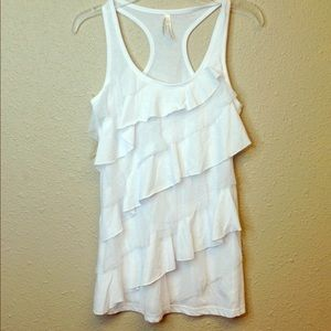 Color Story Tops - Ruffle lace tank top small